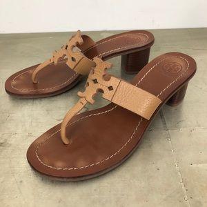 Tory Burch Moore Tan Leather Thong Sandal Heels
